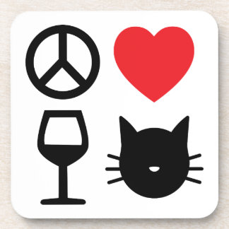 Peace, Love , Wine and Cats 2 Coaster
