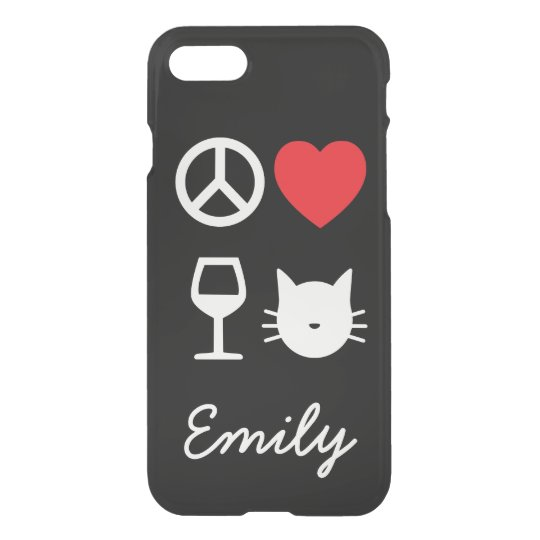 Peace, Love, Wine and Cats 2  Personalized iPhone 7 Case