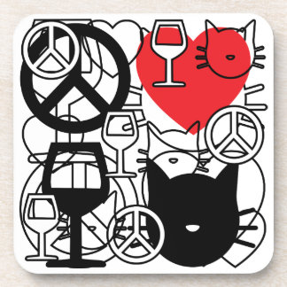 Peace, Love Wine and Cats Coaster