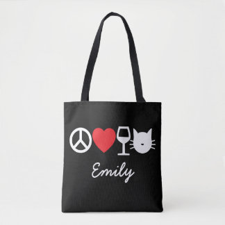 Peace, Love, Wine and Cats (dark) Tote Bag