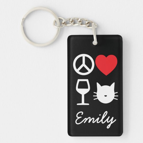 Peace, Love, Wine and Cats Double-Sided Rectangular Acrylic Keychain