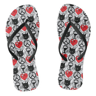 Peace, Love, Wine and Cats Flip Flops