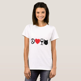 Peace, Love, Wine and Cats T-Shirt