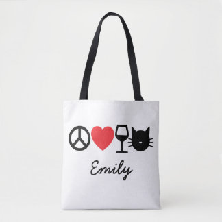 Peace, Love, Wine and Cats Tote Bag