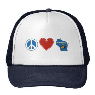 Peace Love Wisconsin Trucker Hat