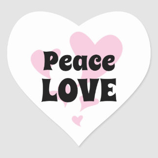 Peace Love with Floating Pink Hearts Heart Sticker