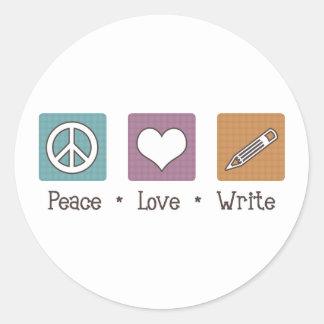 Peace Love Write Classic Round Sticker