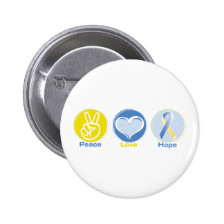 Peace Love Yellow/Blue Hope 2 Inch Round Button