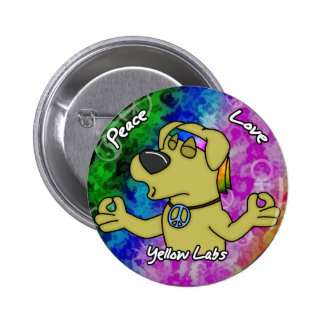 Peace Love Yellow Lab Button
