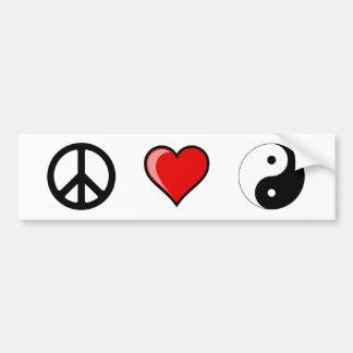 Peace Love Yin Yang Bumper Sticker