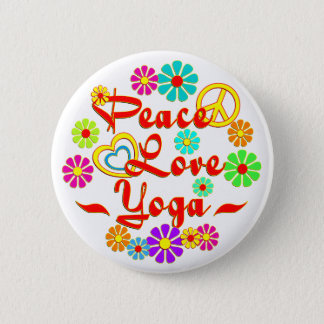 PEACE LOVE Yoga 2 Inch Round Button