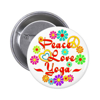 PEACE LOVE Yoga 2 Inch Round Button