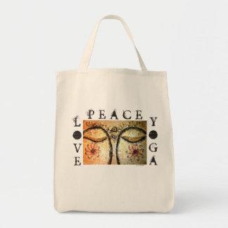 Peace Love Yoga Buddha Art Canvas Grocery Tote