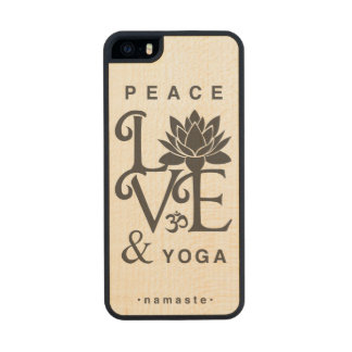 """""""Peace, Love, & Yoga"""" Maple Wood iPhone 5 Case Carved® Maple iPhone 5 Slim Case"""