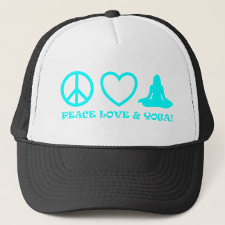 PEACE LOVE & YOGA PICTURES AQUA TRUCKER HAT