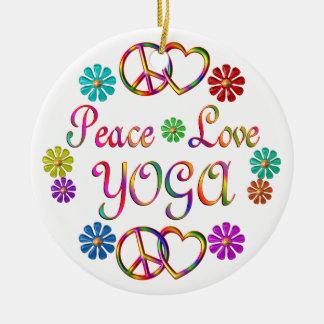 PEACE LOVE YOGA ROUND CERAMIC ORNAMENT
