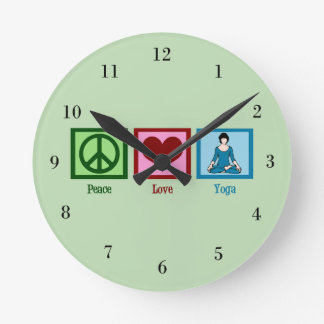 Peace Love Yoga Round Clock