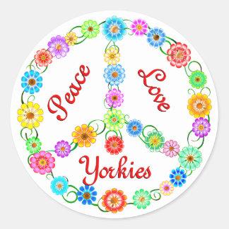 Peace Love Yorkies Classic Round Sticker