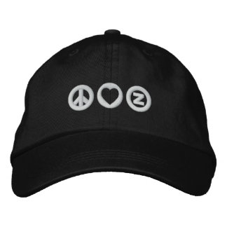 Peace Love Zazzle Embroidered Baseball Caps