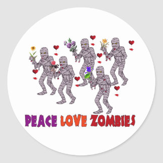 Peace Love Zombies Classic Round Sticker