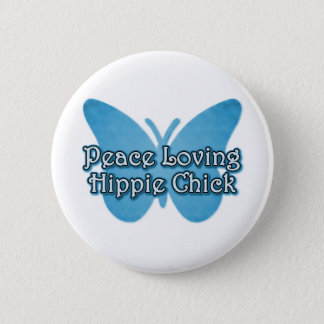 Peace Loving Hippie Chick 2 Inch Round Button