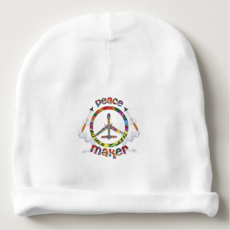 Peace Maker, hippie military drone funny Baby Beanie