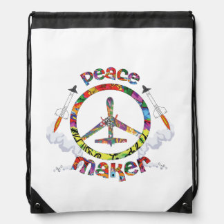 Peace Maker, hippie military drone funny Drawstring Bag