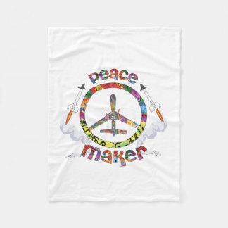 Peace Maker, hippie military drone funny Fleece Blanket