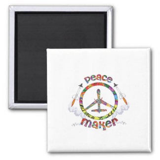 Peace Maker, hippie military drone funny Magnet