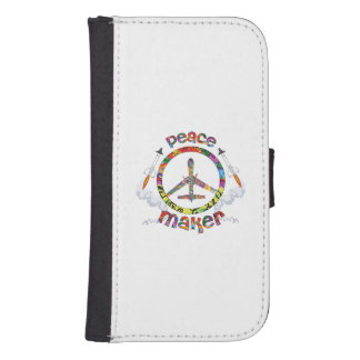 Peace Maker, hippie military drone funny Samsung S4 Wallet Case