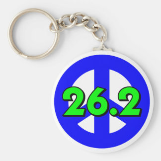 Peace marathon basic round button keychain