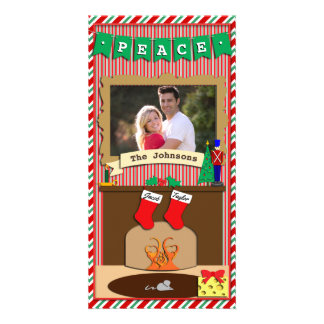 Peace • Night Before Christmas Spirit • 2 Stocking Photo Card Template