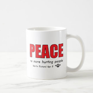 PEACE NO MORE HURTING PEOPLE CLASSIC WHITE COFFEE MUG