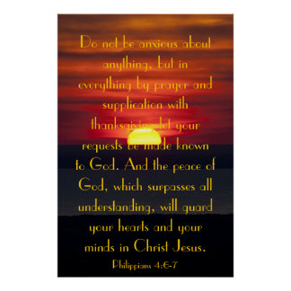Peace of God bible verse Philipians 4:6-7 poster