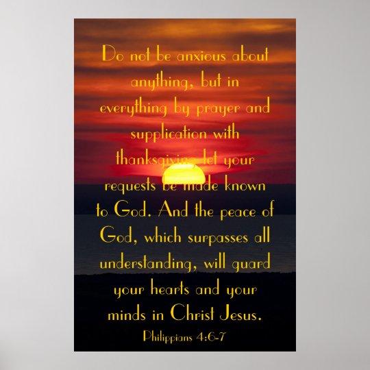 Peace of God bible verse Philipians 4:6-7 poster