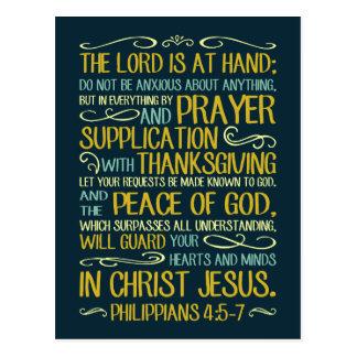 Peace of God Philippians 4:5-7 Postcard