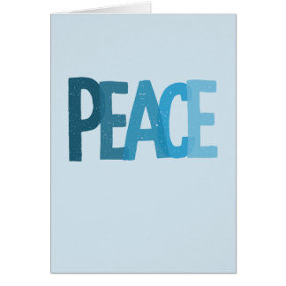 Peace Ombre Blue Letters Holiday Card