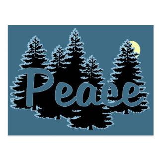Peace on a Deep Blue Forest Holiday Card Postcard