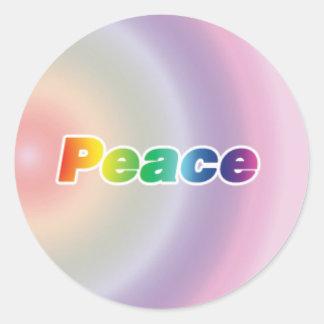 Peace on a Rainbow Background Round Sticker