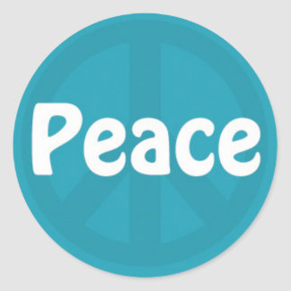 Peace on Blue Peace Sign Round Sticker