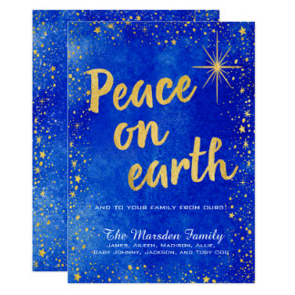 Peace On Earth 3 Photo Custom Christmas Card