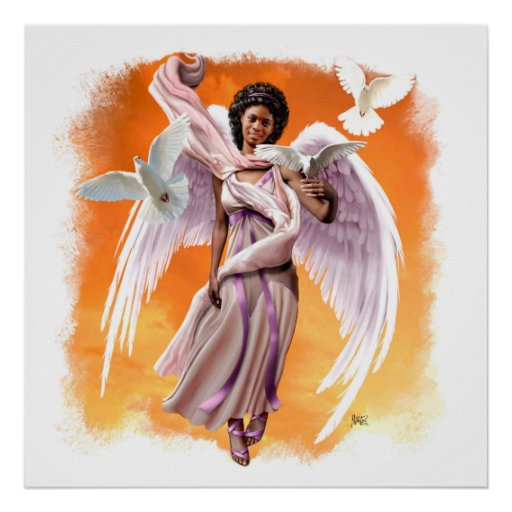 Peace on Earth. Afro Angel Painting Art Print
