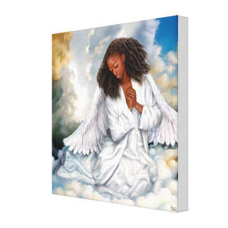 Peace on Earth. Afro Angel Painting Canvas Print