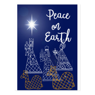 Peace On Earth and Three Wise Men postcard