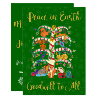 Peace on Earth Animal Tree of Life Custom Holiday Card
