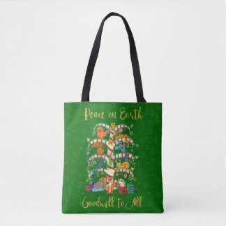 Peace on Earth Animal Tree of Life Holiday Shopper Tote Bag