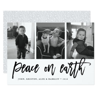 Peace on Earth | Black & White Holiday 3 Photo Card