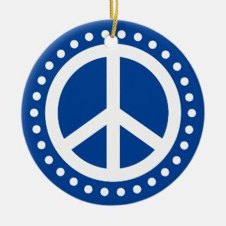 Peace on Earth Blue and White Polka Dot Ceramic Ornament