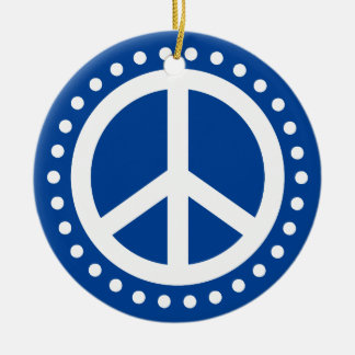 Peace on Earth Blue and White Polka Dot Round Ceramic Ornament