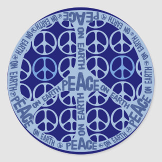 Peace On Earth Blue Peace Classic Round Sticker